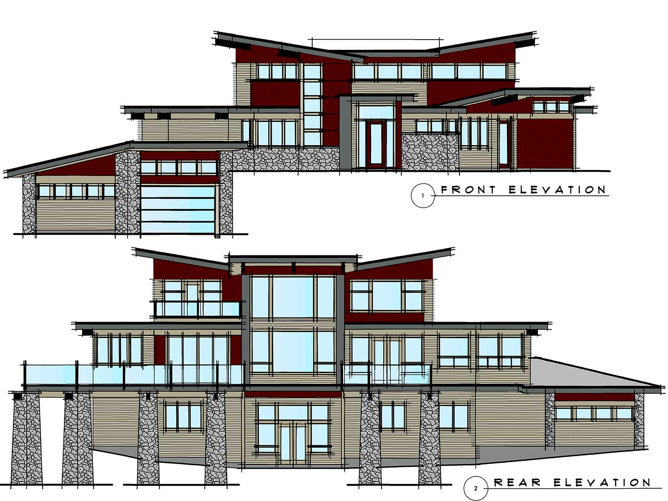 West Coast Contemporary Home Elevations