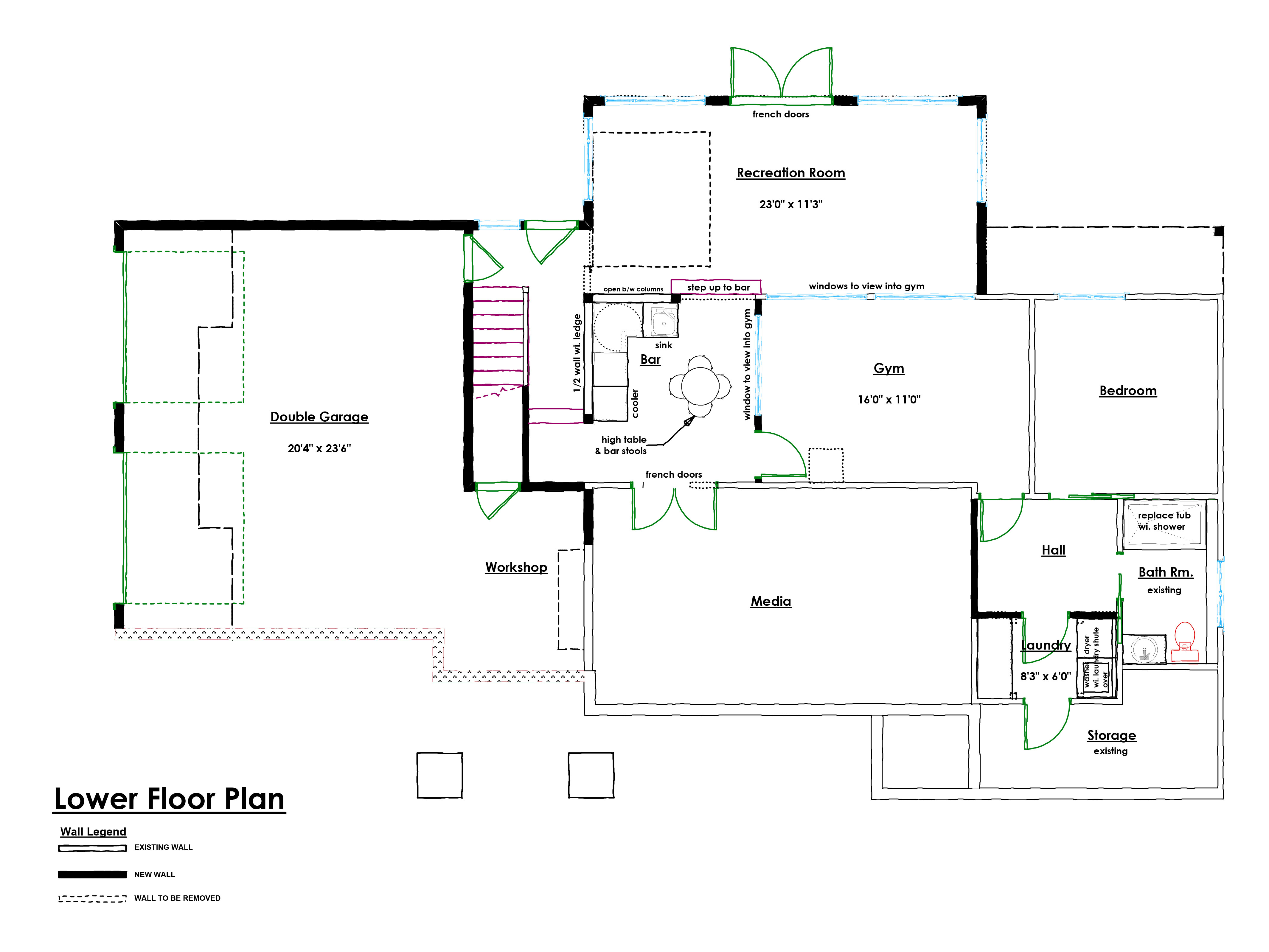 Arts and Crafts Renovation Lower Floor Plan