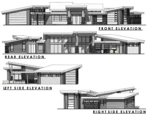 Contemporary Home Design Elevation Drawing